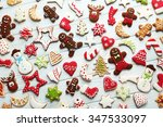christmas cookies on a blue... | Shutterstock . vector #347533097