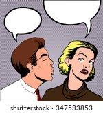 man trying kiss a woman pop art | Shutterstock .eps vector #347533853