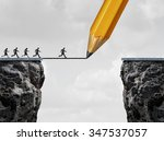 Stock photo drawing a bridge and conquering adversity business concept as a group of people running from one 347537057