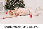 new year. beautiful sexy blonde ... | Shutterstock . vector #347538197