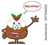 happy christmas pudding cartoon ... | Shutterstock . vector #347556203