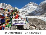 Small photo of EVEREST BASE CAMP, NEPAL, 14th NOVEMBER 2014 - view from Mount Everest base camp with rows of buddhist prayer flags - sagarmatha national park, way to Everest base camp - Nepal