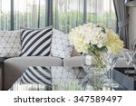 modern living room with vase of ... | Shutterstock . vector #347589497