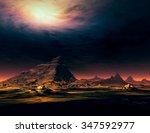 3d illustration of mountainous... | Shutterstock . vector #347592977
