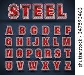 3d red steel font set  vector | Shutterstock .eps vector #347593463