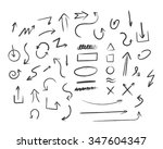 set of hand drawn black arrows... | Shutterstock .eps vector #347604347