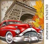 paris vintage poster.   Shutterstock .eps vector #347623763