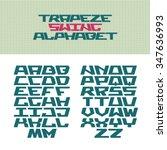 corner tech style font. trapeze ...   Shutterstock .eps vector #347636993