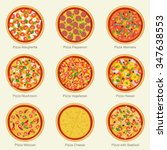 set of pizza with different... | Shutterstock .eps vector #347638553