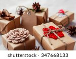 christmas presents with hand... | Shutterstock . vector #347668133
