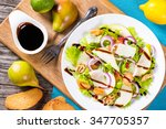 salad with frisee lettuce  pear ... | Shutterstock . vector #347705357
