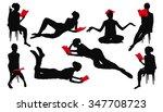 silhouette of girl reading book | Shutterstock .eps vector #347708723