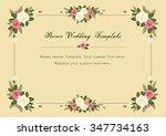 vintage roses wedding vector... | Shutterstock .eps vector #347734163