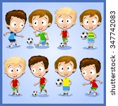 very adorable boy character set ... | Shutterstock .eps vector #347742083