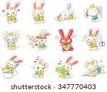 cute and funny cartoon rabbit... | Shutterstock .eps vector #347770403