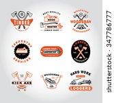 79 set of badge lumber... | Shutterstock . vector #347786777