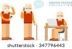 social concept   old man using... | Shutterstock .eps vector #347796443
