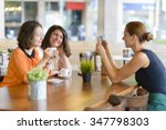 waitress takes pictures for two ...   Shutterstock . vector #347798303