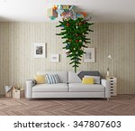 room with a christmas tree on...   Shutterstock . vector #347807603