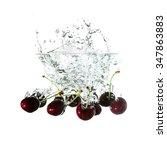 cherries splash on water ... | Shutterstock . vector #347863883