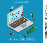 manual debugging process flat... | Shutterstock .eps vector #347874317