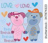cute bears with hearts and...   Shutterstock .eps vector #347874323