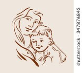 hand drawn sketch young mother... | Shutterstock .eps vector #347876843