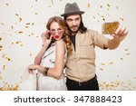 young stylish hipster couple in ... | Shutterstock . vector #347888423