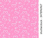 seamless hearts pattern on pink ...   Shutterstock .eps vector #347896967