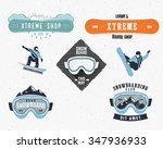 set of snowboarding extreme...