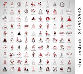 christmas icons and elements... | Shutterstock .eps vector #347953943