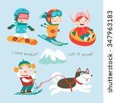 winter holidays. vector set.... | Shutterstock .eps vector #347963183