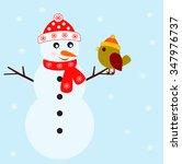 snowman and bird vectors on... | Shutterstock .eps vector #347976737
