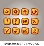set of yellow buttons  vector...