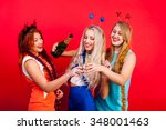 young nice girls have fun on a... | Shutterstock . vector #348001463