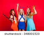 young nice girls have fun on a... | Shutterstock . vector #348001523