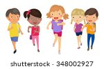 group of student running with... | Shutterstock .eps vector #348002927