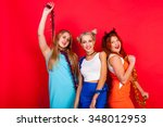 young nice girls have fun on a... | Shutterstock . vector #348012953