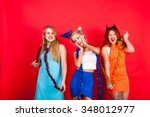 young nice girls have fun on a... | Shutterstock . vector #348012977