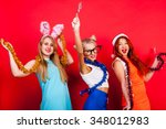 young nice girls have fun on a... | Shutterstock . vector #348012983
