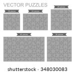 set of various puzzles. 16  24  ... | Shutterstock .eps vector #348030083