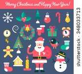 merry christmas and happy new... | Shutterstock .eps vector #348033713