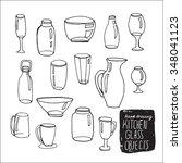 set of cartoon doodle bottles.... | Shutterstock .eps vector #348041123