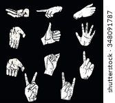 vintage silhouettes of hands....   Shutterstock .eps vector #348091787