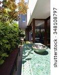 mosaic green outdoor dining... | Shutterstock . vector #348108797