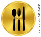 Fork Spoon Knife   Gold Vector...