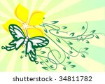decor with butterfly | Shutterstock .eps vector #34811782
