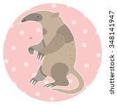 cute anteater on a pink... | Shutterstock .eps vector #348141947