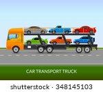 car transport truck on the road ... | Shutterstock .eps vector #348145103