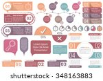 Infographic elements - Timeline, objects with text and numbers or steps or options, timers, circle diagram, percents chart, vector eps10 illustration | Shutterstock vector #348163883